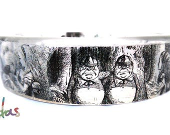 Alice Art Illustration Bangle Hand Made Resin Literature Alice in Wonderland Clear Bracelet