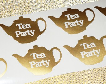 36 Teapot Stickers, Teapot Decals, Tea Party Decor, Envelope Seals, Bag Decals, Metallic gold stickers, Removable Wallpaper, Tea Party Decal