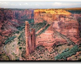 Spider Rock in Canyon De Chelly National Monument Canvas gallery wrapped landscape photograph in Arizona. Large wall decor for living room.