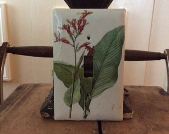 Switch plate cover with botanical print. Single switch.