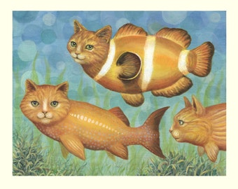 Catfish cat giclee print from original painting