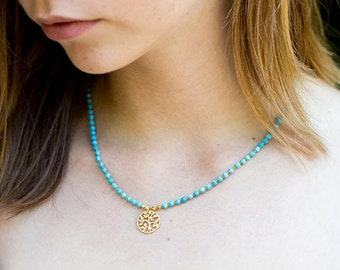 Tree of Life Necklace, Turquoise Necklace, Beaded Necklace, Charm Necklace, Knotted Necklace, Yoga Necklace, Boho Necklace, Tree of Life