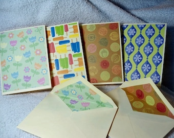 Set of 8 handmade blank notecards, matching lined envelopes, blank inside, 4 seasons bright colorful  designs, nice gift set, economical.