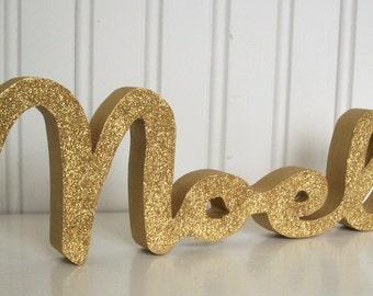 Gold Glitter Noel Letter Sign, Christmas Decoration, Mantle Decoration, Holiday Decoration, Wood Noel Sign
