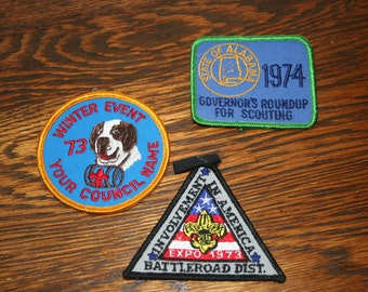 1970's Boy Scout Patches - Lot of 3, Vintage Boy Scout Patches, Boy Scouts Memorabilia, Scout Patch Collector Gift, Boy Scouts