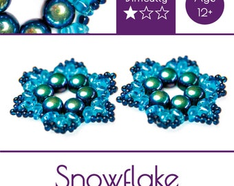 """Exclusive beading Kit for making two jewelry DIY """"Snowflake"""" (Blue-Green) (SNW003)"""