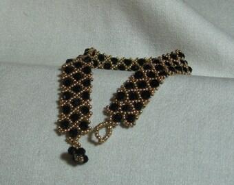 Black and Gold Netted Bracelet