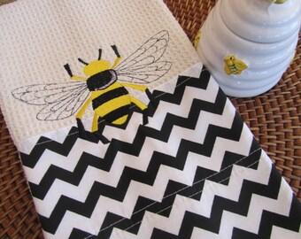 Napoleonic Bee - Chevron Fabric Edging - Microfiber Waffle Weave Kitchen Towel