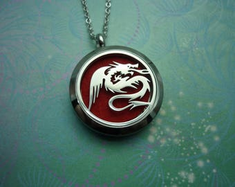 Dragon - Aromatherapy Locket - Stainless Steel Diffuser Necklace - Essential Oil Locket Diffuser Locket - Aromatherapy Jewelry Oil Diffuser