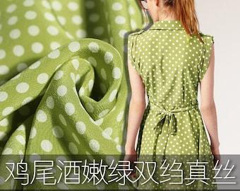 White Polka Dot Print Yellow-Green 100% Silk Crepe de Chine Fabric Width 55 inch