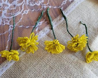 Set of Five (5) Vintage Glass Hand-Beaded Flower Picks, Flowers, Yellow