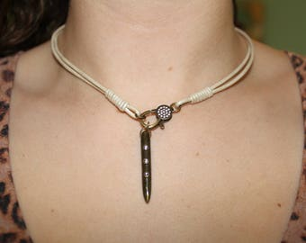 Leather Necklace with Spike Pendant and Front Clasp