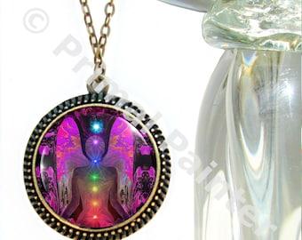 "Chakra Angel Necklace, Rainbow Reiki Energy Art, Unique Jewelry ""Balance Within Chaos"""