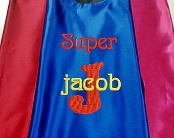 Superhero KID'S's Cape,   Super Hero Cape, Kid's Cape, Superhero, Costume Cape,  Embroidered Personalized