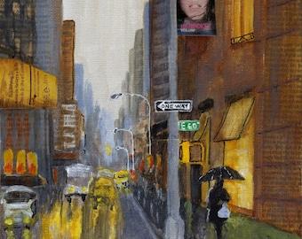 I Love New York in the Rain - Original Painting 8x8 Rain Shopping Night Reflections Yellow