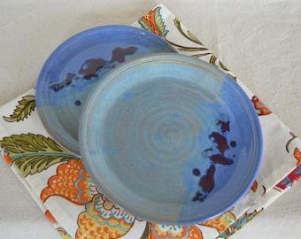 pottery plates, plate set, blue plates, salad plates, dessert plates, bread plates, serving plates, blue pottery, kitchen plates