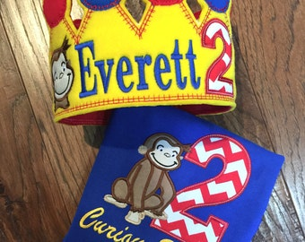 Boys Curious George with Crown Set