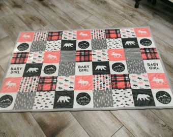 Baby Quilt, Woodland Quilt, Animal Quilt, Plaid Quilt, Toddler Quilt, crib quilt, stroller quilt