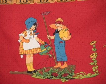 Vintage Children Fabric on Red in  Jesse Wilcox Smith Style
