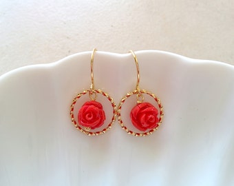 Circle dangle earrings, flower earrings, cute dangle earrings, cute earrings, cute circle earrings, gold dangle, gold dangle earrings