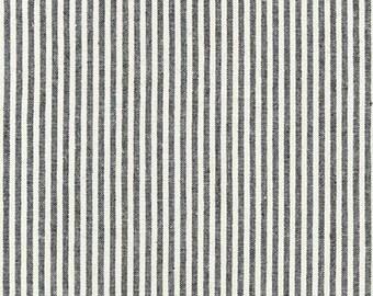 Robert Kaufman Essex Yarn Dyed Linen/Cotton Classic Mini Stripe in Black - Half Yard