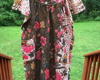 Vintage floral rayon ruffle sleeve boho midi dress