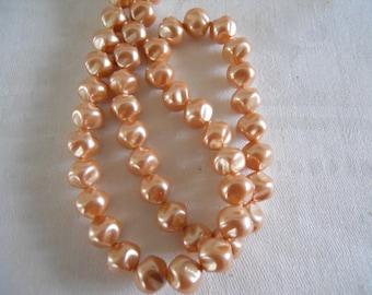 Strand Vintage Czech Glass 11 mm Cream Baroque Pearls