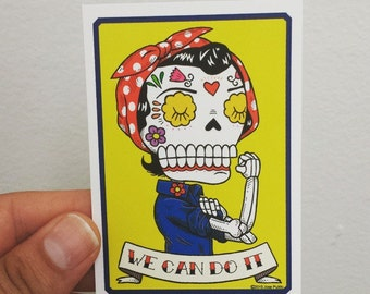 Day of the Dead Rosie the Riveter Calavera Vinyl Sticker