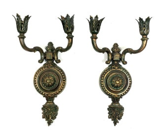 Antique Wall Sconce with Double Candle Arm, Pair of Vintage Shabby Chic Architectural Salvage Lighting