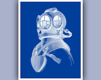Plongeur casque d'impression, Vintage image scuba diving helmet, plonger, impression bleue, art Marine nautique, plongée Centre décor, école de plongée, 11 x 14