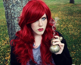 Auburn Red wig | Long Curly Wavy wig | Halloween wig, Cosplay wig, Lolita and Mermaid styles | Poison