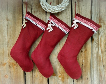 Personalized Christmas Stocking Christmas Decor Burlap Stockings Personalized Christmas Stocking Christmas Gift Christmas Ornament