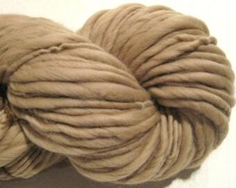 Super Bulky Handspun Yarn, Cafe Au Lait 60 yds, brown yarn, tan yarn, camel yarn merino wool yarn knitting supplies crochet doll hair
