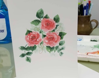 Hand painted watercolor card. Can be personalized. Deep pink roses. Can be personalized.
