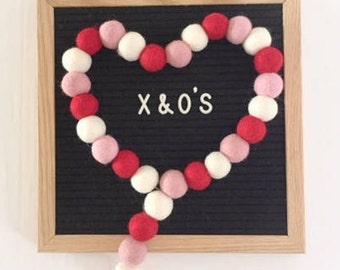 XO Valentine's Day POM garland