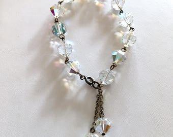 Vintage Crystal Bracelet 50s Clear Crystal Bracelet