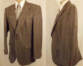 80's Wm F Farah Gray Pinstripe Herringbone Tweed Sport Coat 38 40