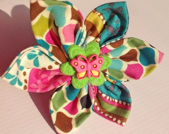 Pink, Green, & Teal Summer Dog and Cat Collar Flower- Multi Colored