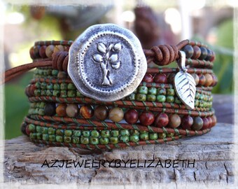 Beaded Wrap Bracelet> Gemstone Leather Wrap Bracelet> Leather And Gemstone Wrap Bracelet> Five Wrap Bracelet> Gift For Her> Boho Bracelet.