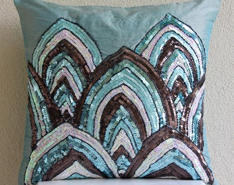 "Handmade Blue Pillow Cases, 16""x16"" Silk Pillows Cover, Square  Sequins & Beaded Sparkly Pillows Cover - Blue Mahal"