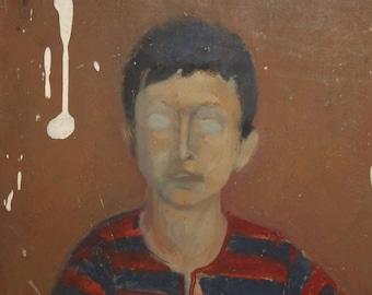 European mid century oil painting portrait