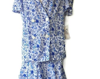 Tiered Ruffle Dress Two Piece White with Blue Flowers With Tags Size 10 Made USA