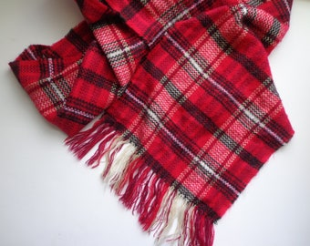 Vintage Plaid Lightweight Wool Scarf Red and Black Checked Woven Warm Winter Fashion Accessory Classic Style Extra Long with Fringe