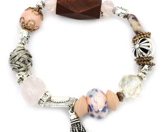 Colorful bead and wood bracelet