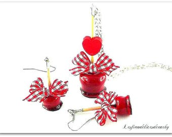 Necklace and earrings red toffee apple COILS