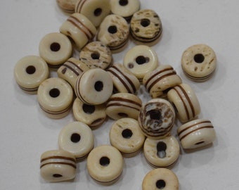 Beads Indonesian Bone Carved Disc Vintage Beads 10mm