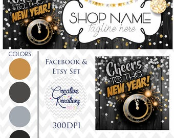 Timeline Banner Happy New Year Facebook Cover Set Facebook Business Page Set - Digital Files