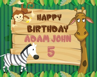 Large Custom Safari Jungle Birthday Banner, Safari Birthday Banner, Zoo Happy Birthday, Jungle theme party, Kids Animal Birthday ;1400052