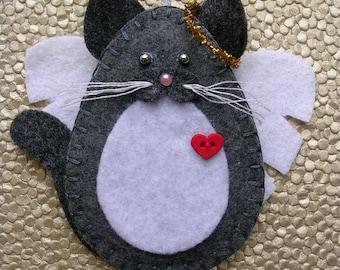 Cat Angel Ornament, Gray & White Cat Angel, Grey and White Cat Angel, Felt Cat Angel Ornament, Cat Memorial
