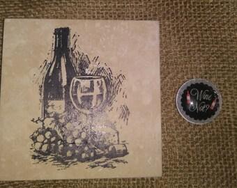Wine Coaster & Magnet Set ~ Wine Lover Magnet ~ Wine Lover Set ~ Birthday Gift ~ Christmas Gift